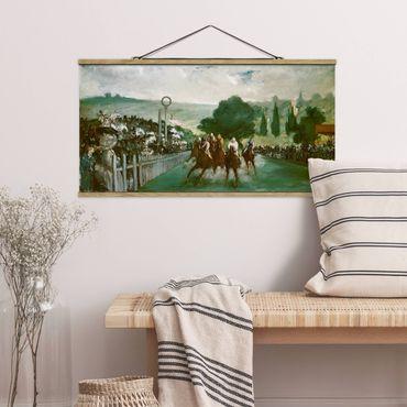 Stoffbild mit Posterleisten - Edouard Manet - Pferderennen - Querformat 1:2