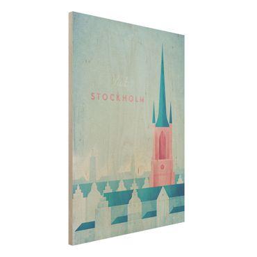 Holzbild - Reiseposter - Stockholm - Hochformat 4:3