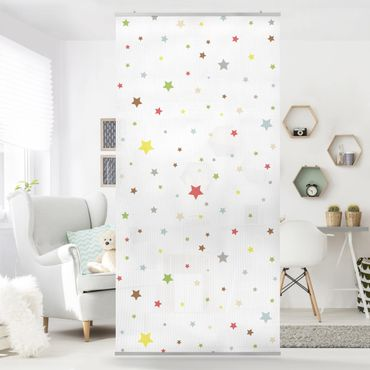 Raumteiler Kinderzimmer - No.YK34 Bunte Sterne 250x120cm
