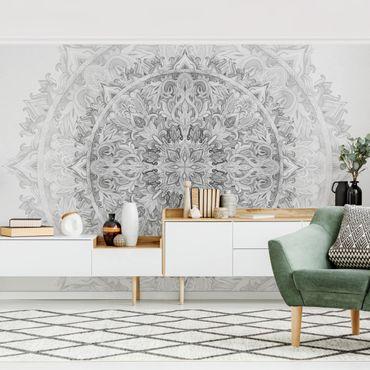 Fototapete - Mandala Aquarell Ornament Muster schwarz weiß - Fototapete Breit