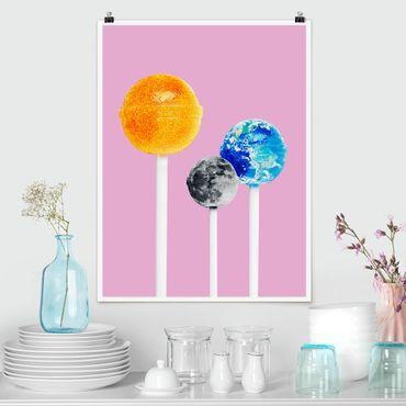 Poster - Jonas Loose - Lollipops mit Planeten - Hochformat 3:4