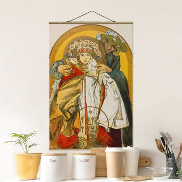 Stoffbild mit Posterleisten - Alfons Mucha - Plakat Tschechoslowakischen Republik - Hochformat 3:2