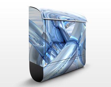 Briefkasten mit Zeitungsfach - Frosty Chains - Modern Blau