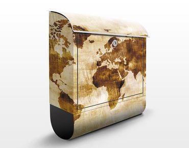 Briefkasten Vintage - No.CG75 Map of the World - Briefkasten Beige mit Zeitungsrolle