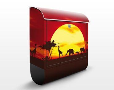 Briefkasten mit Zeitungsfach - No.CG80 Sunset Caravan - Hausbriefkasten Rot