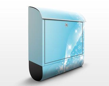 Wandbriefkasten - Eisglitzern - Briefkasten Blau