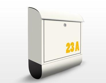 Briefkasten mit eigenem Text & Hausnummer - No.JS316 Wunschtext Gelb auf Beige