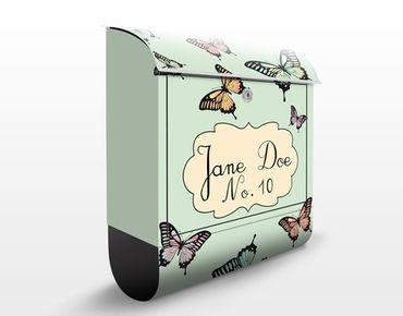 Briefkasten mit eigenem Text & Hausnummer - No.JS176 Wunschtext Butterflies