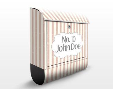 Briefkasten Vintage - No.JS177 Wunschtext Stripes - mit eigenem Text & Hausnummer