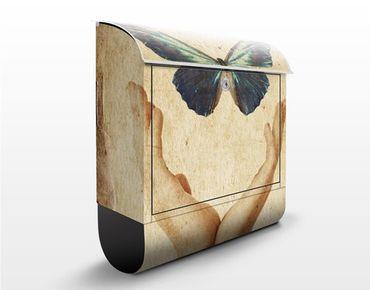 Briefkasten Vintage - Flieg, Schmetterling! - Briefkasten Beige mit Zeitungsrolle