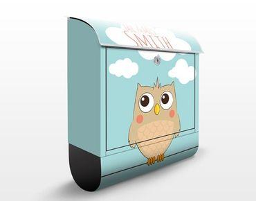 Briefkasten mit Zeitungsfach - No.JS178 Wunschtext Hello Owl