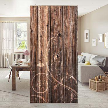 Raumteiler - No.547 Holzzaun floral 250x120cm