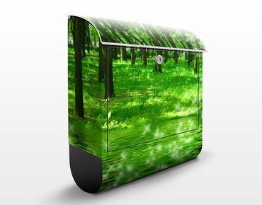 Briefkasten mit Zeitungsfach - Morgenzauber - Hausbriefkasten Grün
