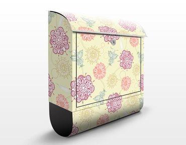 Briefkasten mit Zeitungsfach - Ornamentblüten - Blumen Bunt