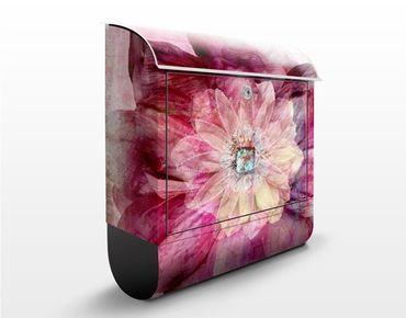 Briefkasten mit Zeitungsfach - Grunge Flower - Blumen Rosa, Pink