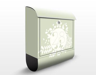 Briefkasten mit eigenem Text & Hausnummer - No.JS309 Wunschtext Florales Etikett