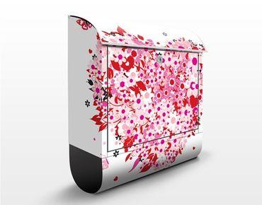 Wandbriefkasten - Floral Retro Heart - Briefkasten Rot