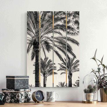 Holzbild - Palmen im Sonnenuntergang Schwarz-Weiß - Hochformat 3:2