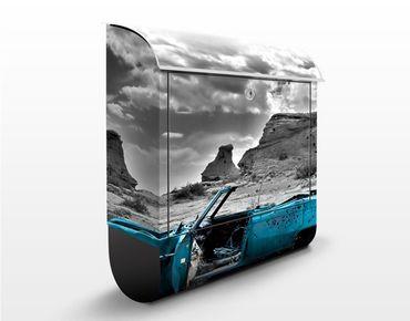 Wandbriefkasten - Türkiser Cadillac - Briefkasten Grau