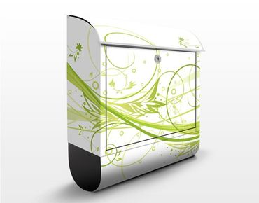 Briefkasten mit Zeitungsfach - March - Wandbriefkasten Grün