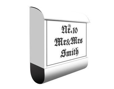 Briefkasten mit eigenem Text & Hausnummer - No.EK424 Wunschtext Gotische Schrift