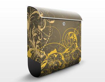 Briefkasten mit Zeitungsfach - Schnörkel in Gold - Wandbriefkasten