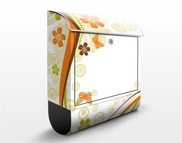 Briefkasten mit Zeitungsfach - October - Blumen Orange
