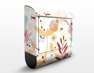Briefkasten mit Zeitungsfach - Spring Garden - Blumen Bunt