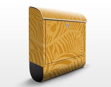 Briefkasten mit Zeitungsfach - No.DS5 Zebrastreifen Beige - Streifenmuster