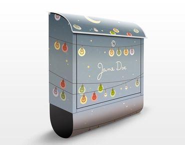 Briefkasten mit Zeitungsfach - No.EK423 Wunschtext Glühbirnen
