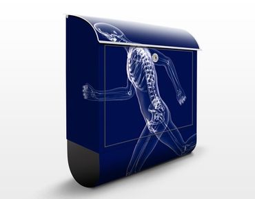 Wandbriefkasten - Gläserner Mensch in Blau - Briefkasten Blau