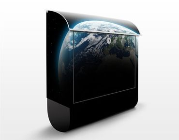 Wandbriefkasten - Illuminated Planet Earth - Briefkasten Schwarz