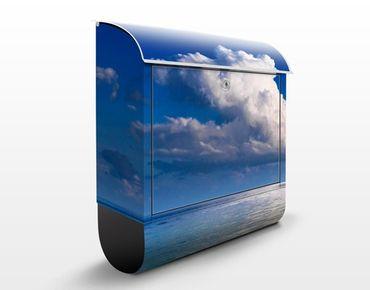 Briefkasten mit Zeitungsfach - Türkise Lagune - Hausbriefkasten Blau
