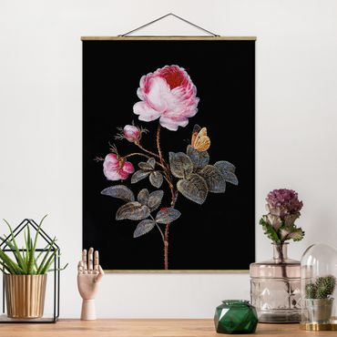 Stoffbild mit Posterleisten - Barbara Regina Dietzsch - Die hundertblättrige Rose - Hochformat 4:3