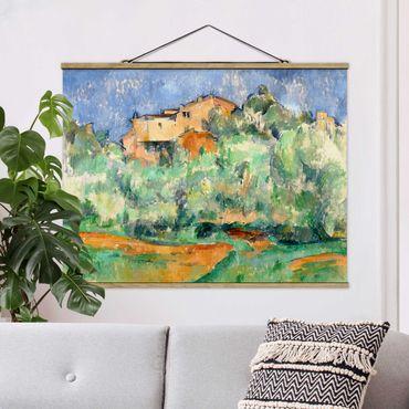 Stoffbild mit Posterleisten - Paul Cézanne - Haus auf Anhöhe - Querformat 3:4