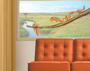 Fensterfolie - Fenstersticker Einhörnchen, halt dich fest! - Fensterbilder