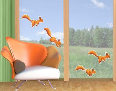 Fensterfolie - Fenstersticker Einhörnchen-Parade - Fensterbilder