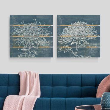Holzbild 2-teilig - Indigo-Pflanzen Set I - Quadrate 1:1