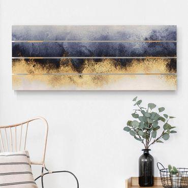 Holzbild - Elisabeth Fredriksson - Wolkenhimmel mit Gold - Querformat 2:5