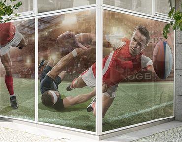 Fensterfolie - XXL Fensterbild Rugby In Motion - Fenster Sichtschutz