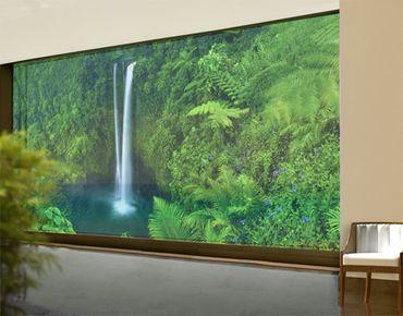 Fensterfolie - XXL Fensterbild Paradiesischer Wasserfall - Fenster Sichtschutz