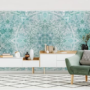 Fototapete - Mandala Aquarell Ornament Muster türkis - Fototapete Breit