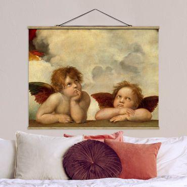 Stoffbild mit Posterleisten - Raffael - Zwei Engel - Querformat 3:4
