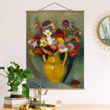 Stoffbild mit Posterleisten - Otto Modersohn - Bunter Blumenstrauß - Hochformat 4:3