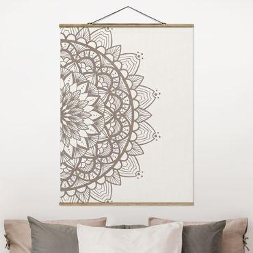 Stoffbild mit Posterleisten - Mandala Illustration shabby Set beige weiß - Hochformat 4:3