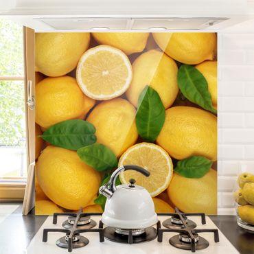 Glas Spritzschutz - Saftige Zitronen - Quadrat - 1:1