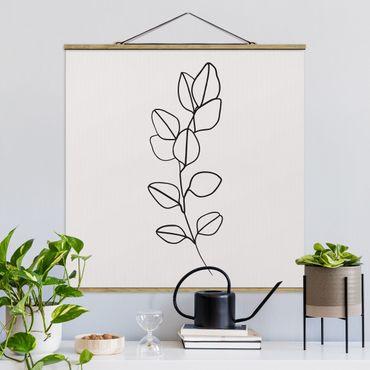 Stoffbild mit Posterleisten - Line Art Zweig Blätter Schwarz Weiß - Quadrat 1:1