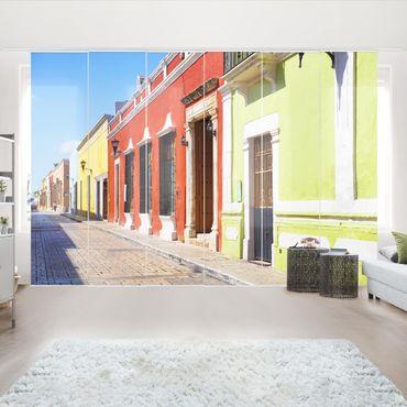 Schiebegardinen Set - Farbige Häuserfronten - Flächenvorhänge