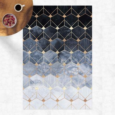 Vinyl-Teppich - Elisabeth Fredriksson - Blaue Geometrie goldenes Art Deco - Hochformat 2:3