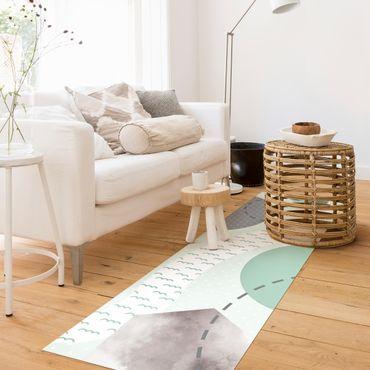 Vinyl-Teppich - Kinderteppich grafisch - Wald und Fluss - Panorama Hoch 1:3